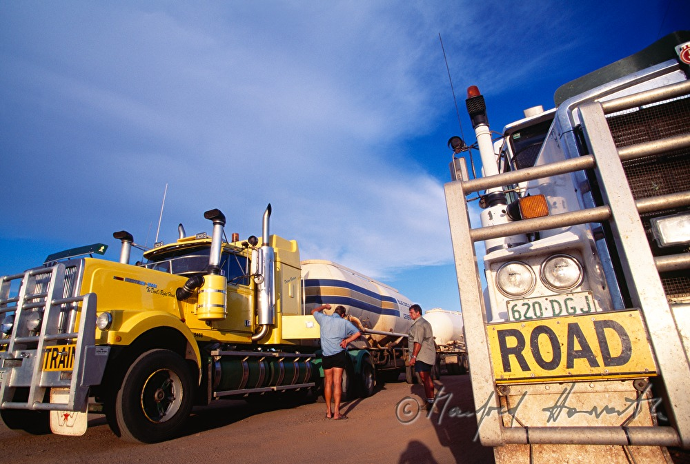 road train parking at a roadhouse